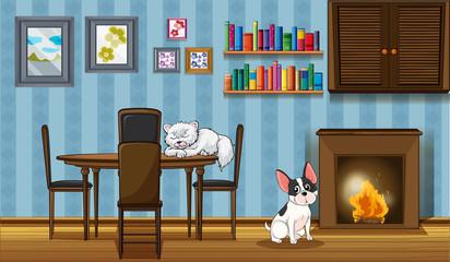 Pets inside a house near the fireplace