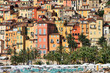 Colorful houses in Provence village of Menton on the french Rivi