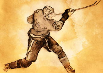 sketch of the hockey player