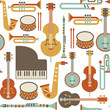seamless pattern with jazz instruments. isolated on white - 54071488