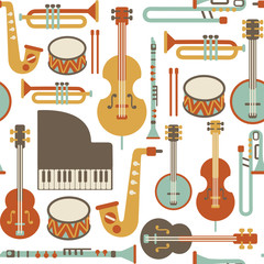 seamless pattern with jazz instruments. isolated on white © kusuriuri