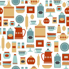 seamless pattern with vintage kitchen items