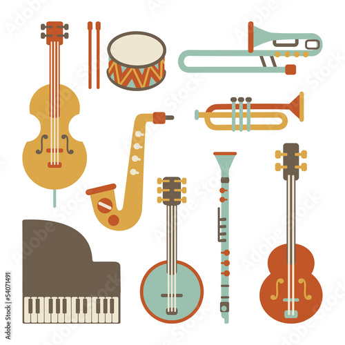 Jazz instruments set. isolated on white