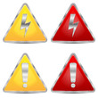 set of signs of danger on a white background
