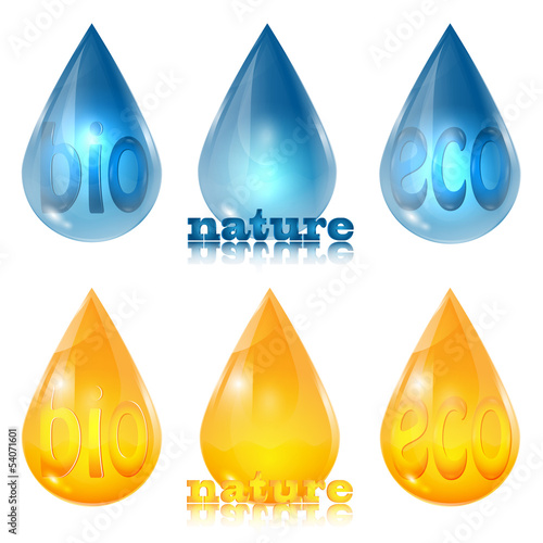 set of drops of yellow and blue on a white background