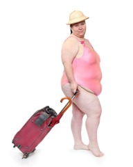 Funny overweight woman going to vacations.
