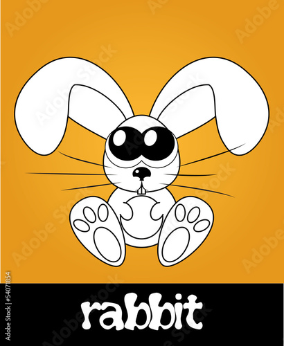 Cute rabbit with big eyes, vector illustration