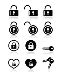 Padlock, key vector icons set