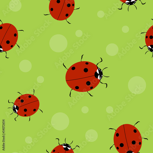 Poster Lieveheersbeestjes Vector summer background, seamless pattern