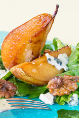 Salad with caramelised pears,walnuts and blue cheese, vertical