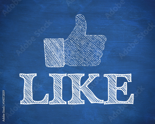 Thumb up representing social network logo above the word like