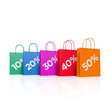 Bunte Einkaufstaschen mit Rabatten - 3D Illustration