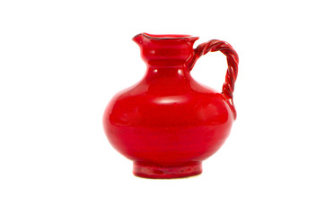 red ceramic jug isolated on white