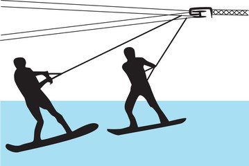 water skiing silhouette vector