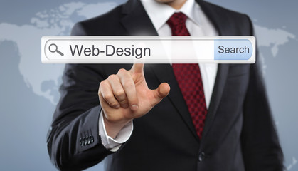 Businessman with Toolbar Web Design