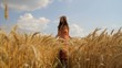 Beauty Hippie Girl Passing Beautiful Nature Summer Field HD