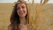 Happy Hippie Woman Holding Wheat Beauty Crop Bread Concept