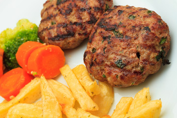 Greek Bifteki with fries