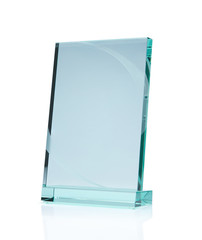 Blank glass award with clipping path