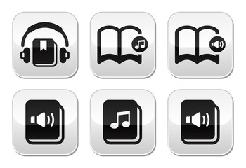 Audiobook vector buttons set