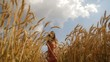 Harvest Happy Woman Passing Organic Food Field Concept