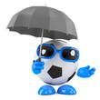 3d Football shelters under an umbrella