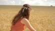 Beautiful Young Woman Collecting Wheat Organic Lifestyle Concept