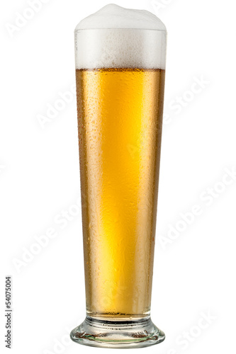 Glass with beer isolated on white. With clipping path