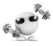 Golfball works out with weights