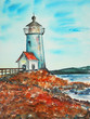 Quadro watercolor painting, lighthouse