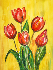 watercolor painting, tulips