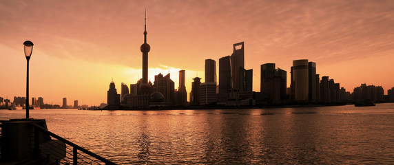 Lujiazui Finance&Trade Zone of Shanghai skyline at dawn landscap