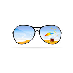 sunglass with beach art vector