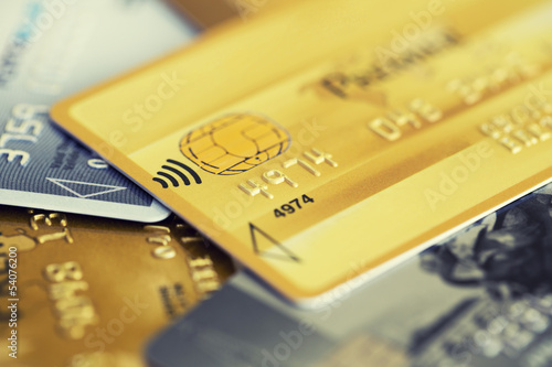 Gold credit card. Close-up image