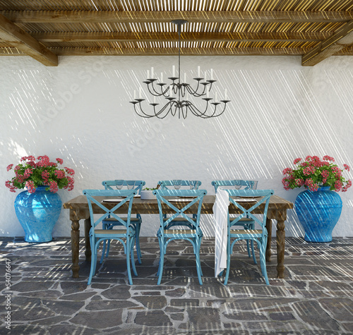 Aegean luxury beach hotel summer lounge dining space