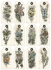 12 étiquettes initiales et botanique