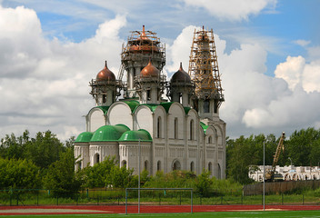 Construction majestic Orthodox church clear day