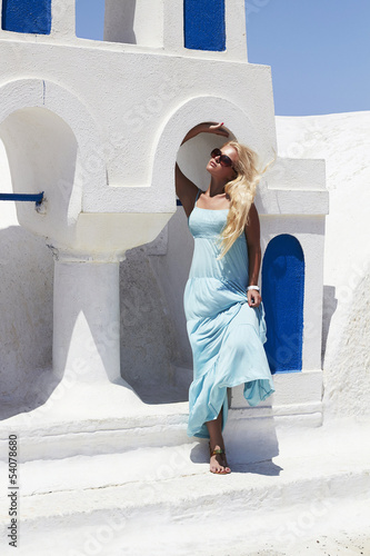 Beautiful blond woman in Santorini
