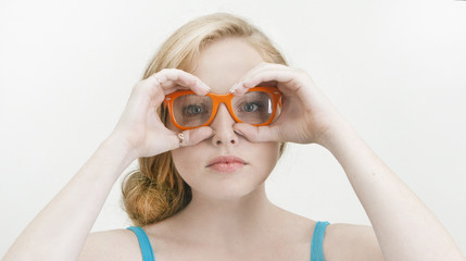 Girl in orange glasses