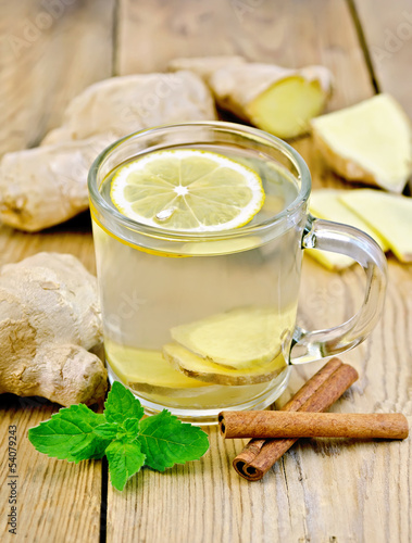 Tea ginger with mint and cinnamon in a mug