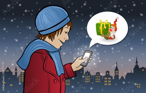 Maria erhält ein Weihnachtsgeschenk auf ihrem Smartphone