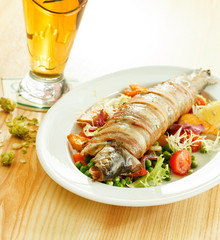 trout with vegetables and beer