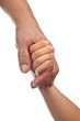 Elderly and young hands holding together isolated