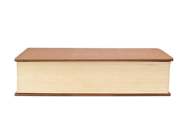 Closeup of the fore edge of a book isolated on white