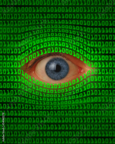 Eye Peeking Through Binary Code