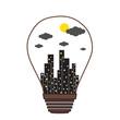 Building in the Light bulb vector icon logo, idea concept
