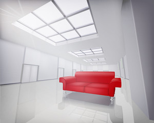 Room with red sofa. Vector illustration.