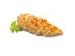 gebratenes Hühnerbrust Filet mit Kerbel aufgeschnitten