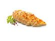 gebratenes Hühnerbrust Filet mit Kräutern aufgeschnitten