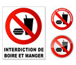Plaque interdit manger et boire